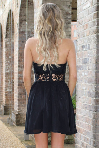 Dress - Passion Fusion Black Crochet Waist Sherri Strapless Chiffon Dress