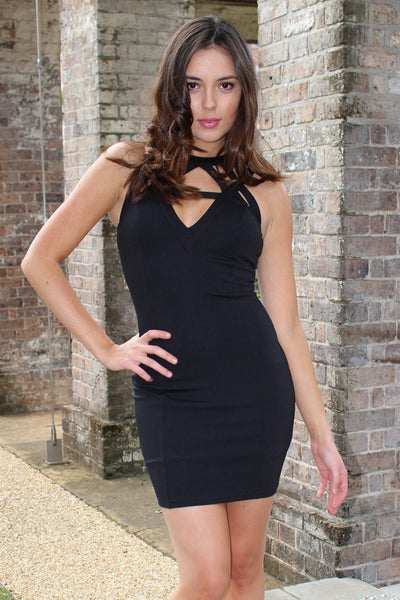 Dress - Passion Fusion Black Diamond Cut Out Bodycon Dress