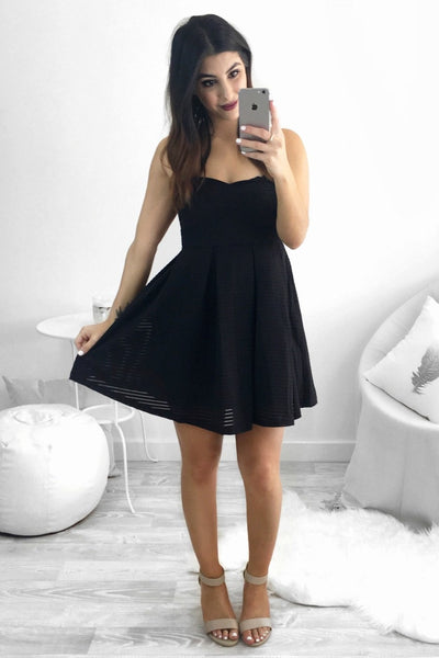 Dress - Passion Fusion Black Strapless Babydoll Bandage Party Dress