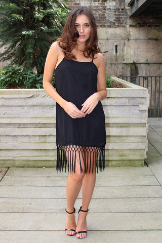 Dress - Passion Fusion Charleston Black Tassel Tunic Dress
