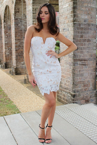 Dress - Passion Fusion Dalia Cream & White Floral Strapless Lace Dress