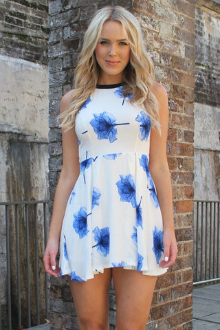 Dress - Passion Fusion Dreaming Of Summer Blue Floral Swing Dress