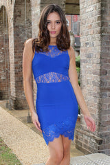 Dress - Passion Fusion Electric Dreams Blue Lace Bodycon Party Dress