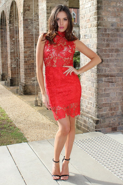 Dress - Passion Fusion First Sin Sexy Red Lace Turtleneck Dress