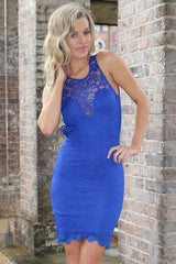 Dress - Passion Fusion Love Actually Blue Lace Bodycon Party Dress