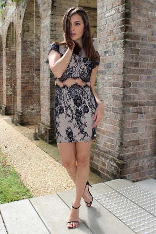 Dress - Passion Fusion Miss Nikki Black & Nude Lace Dress