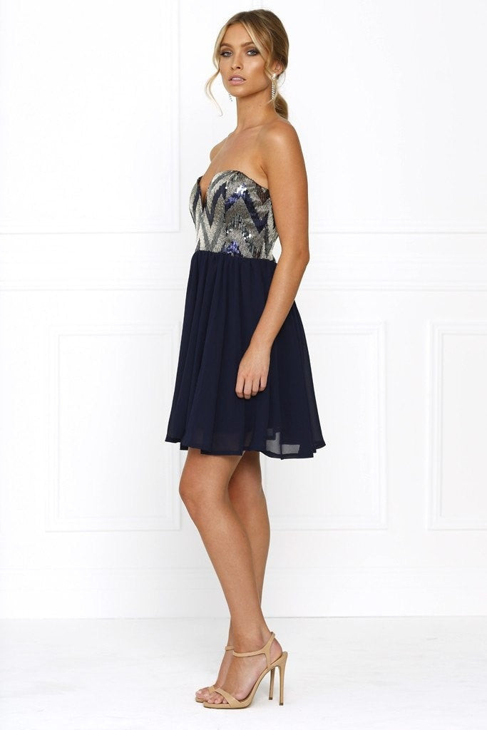 Dress - Passion Fusion Navy Blue Sherri Sequin Formal Dress