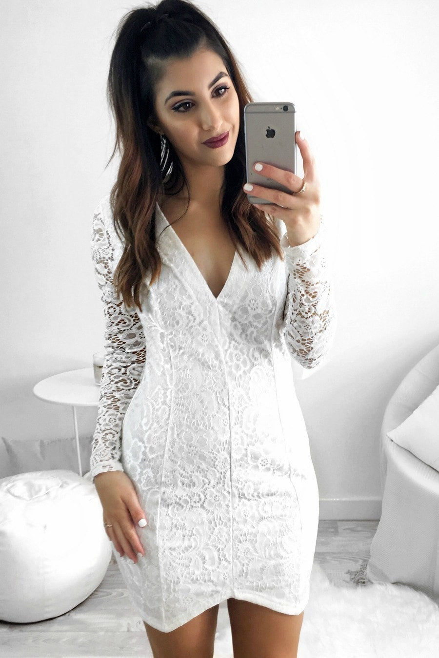 Passion Fusion Shining Light White Lace Long Sleeve Dress