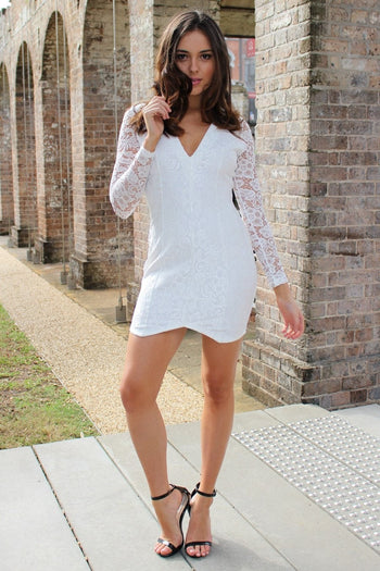 Dress - Passion Fusion Shining Light White Lace Long Sleeve Dress