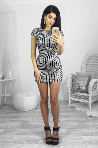 Dress - Passion Fusion Silver Sequin Perfect Party Dress