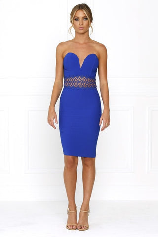 Dress - Passion Fusion Summer Loving Blue Strapless Bustier Crochet Party Dress