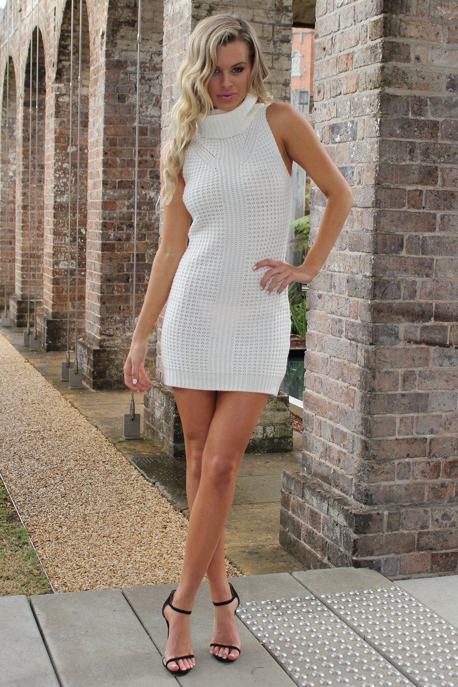 The Standout Cream Turtleneck Knit Dress