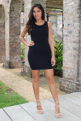 To The Club Black Bodycon Mini Dress