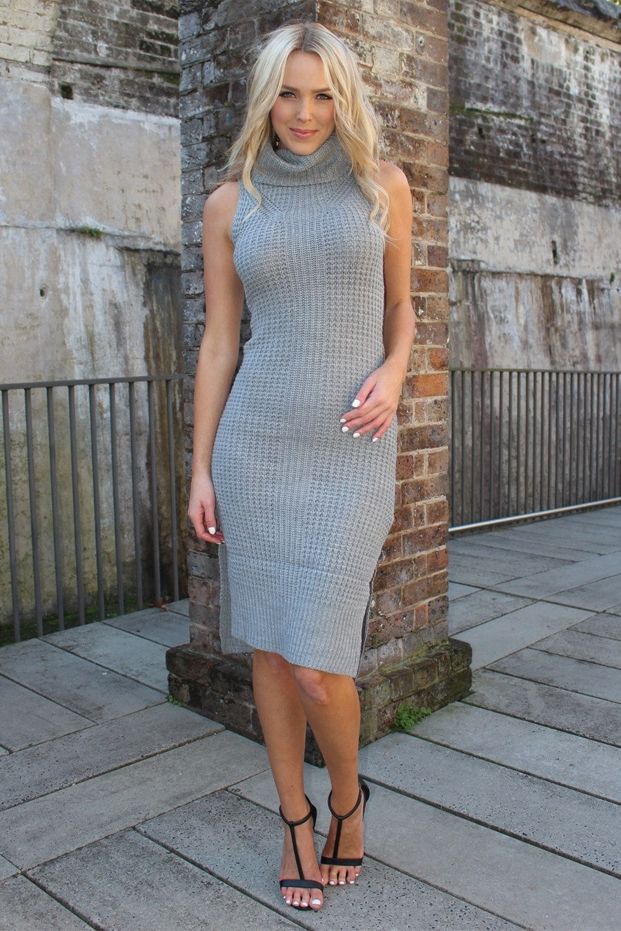 Dress - Warm Winter Days Grey Turtleneck Knit Dress