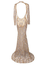 Honey Couture ADILENE Gold Sheer Glitter Open Back Evening Gown Dress Honey Couture$ AfterPay Humm ZipPay LayBuy Sezzle