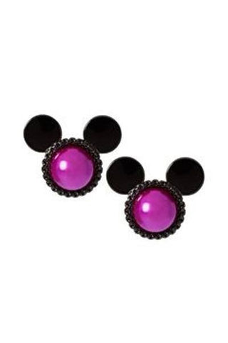 Disney Couture Purple & Black Minnie Mouse Stud Earrings