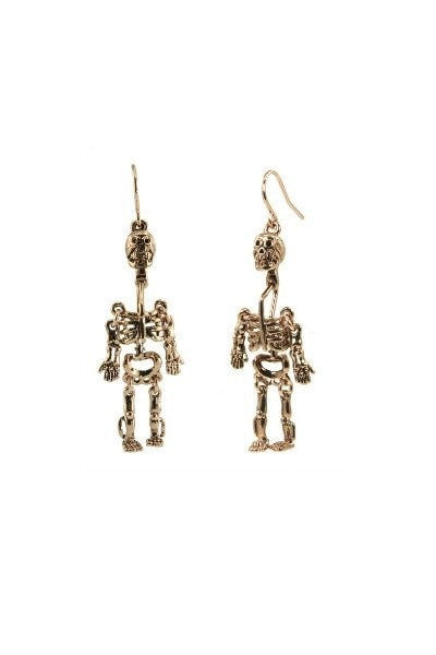 WILDFOX Couture Skull Dangle Earrings in Rose Gold