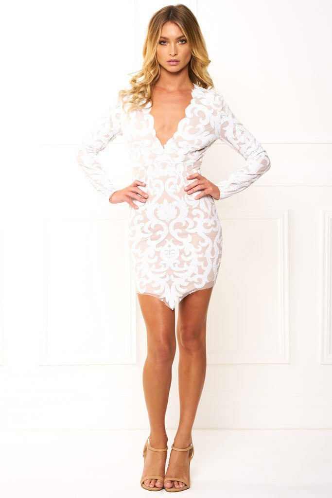 Honey Couture EBONEE White Long Sleeve Sequin Dress Australian Online Store One Honey Boutique AfterPay ZipPay