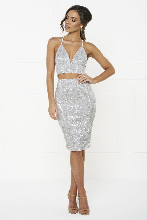 Honey Couture KELSEY Silver Sequin Crop Top and Skirt Set Honey Couture$ AfterPay Humm ZipPay LayBuy Sezzle