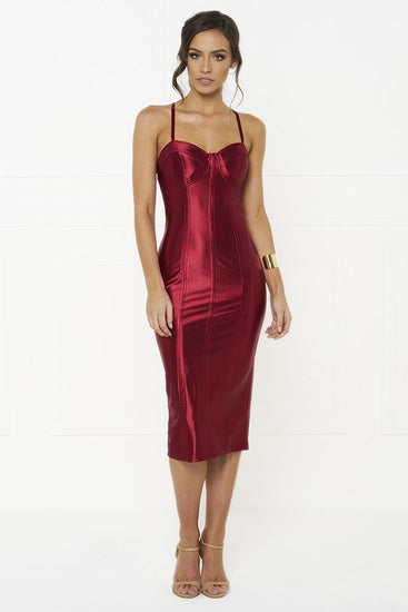 Honey Couture TAMARA Red Midi Bodycon DressHoney CoutureOne Honey Boutique AfterPay OxiPay ZipPay