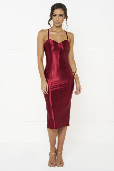 Honey Couture TAMARA Red Midi Bodycon Dress