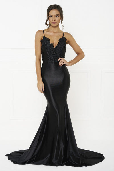 Honey Couture PENELOPE Black Applique Formal Gown Dress
