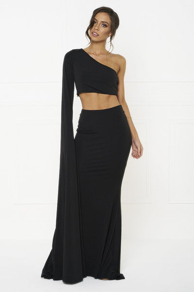 Honey Couture HARPER Black One Shoulder Drape Sleeve Crop Top and Skirt Set