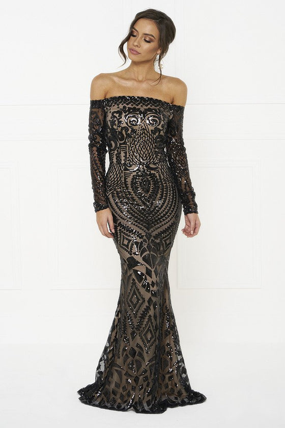 Honey Couture MISHKA Black Sequin Formal Gown DressHoney CoutureOne Honey Boutique AfterPay OxiPay ZipPay