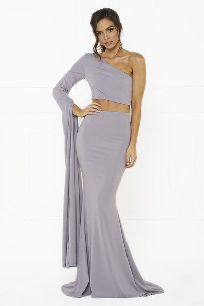 Honey Couture HARPER Lilac One Shoulder Drape Sleeve Crop Top and Skirt Set