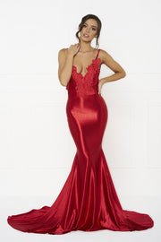 Honey Couture PENELOPE Red Applique Formal Gown Dress Honey Couture One Honey Boutique AfterPay ZipPay OxiPay Laybuy Sezzle Free Shipping