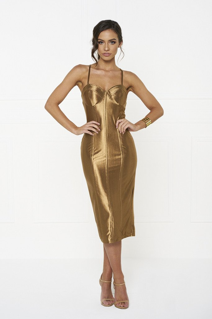 Honey Couture TAMARA Gold Midi Bodycon Dress