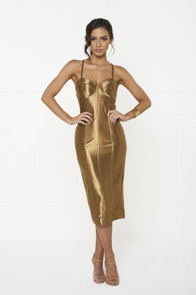 Honey Couture TAMARA Gold Midi Bodycon DressHoney CoutureOne Honey Boutique AfterPay OxiPay ZipPay