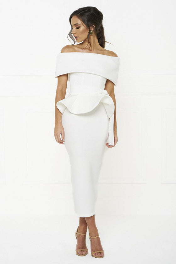 Honey Couture CAMILLA White Strapless Peplum Midi DressHoney CoutureOne Honey Boutique AfterPay OxiPay ZipPay