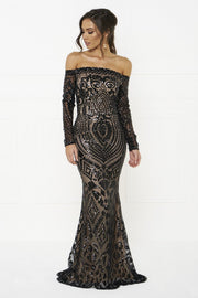 Honey Couture MISHKA Black Sequin Formal Gown Dress Honey Couture$ AfterPay Humm ZipPay LayBuy Sezzle