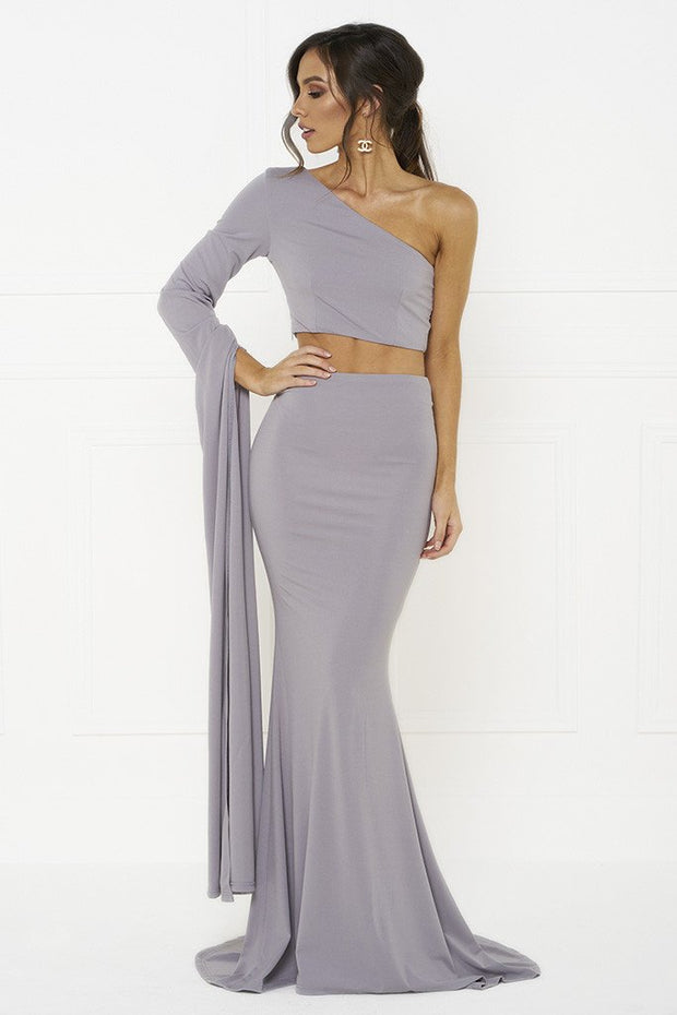 Honey Couture HARPER Lilac One Shoulder Drape Sleeve Crop Top and Skirt Set Honey Couture$ AfterPay Humm ZipPay LayBuy Sezzle