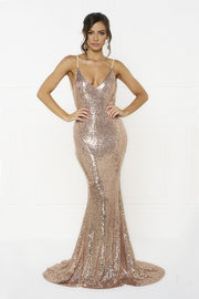 Honey Couture KRISTY Gold Low Back Bow Sequin Formal Gown Dress Honey Couture One Honey Boutique AfterPay ZipPay OxiPay Laybuy Sezzle Free Shipping