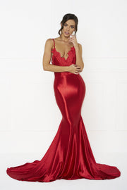 Honey Couture PENELOPE Red Applique Formal Gown Dress Honey Couture$ AfterPay Humm ZipPay LayBuy Sezzle