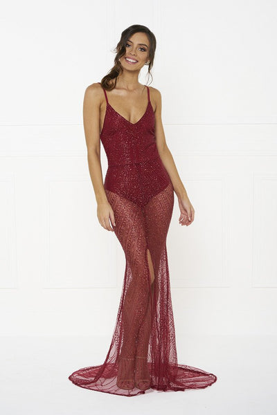 Honey Couture EVELYN Red Glitter Sheer Formal Dress