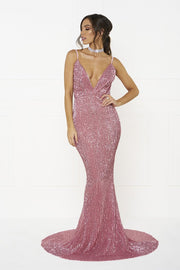Honey Couture ROSALIE Pink Low Back Sequin Formal Gown Dress Honey Couture$ AfterPay Humm ZipPay LayBuy Sezzle