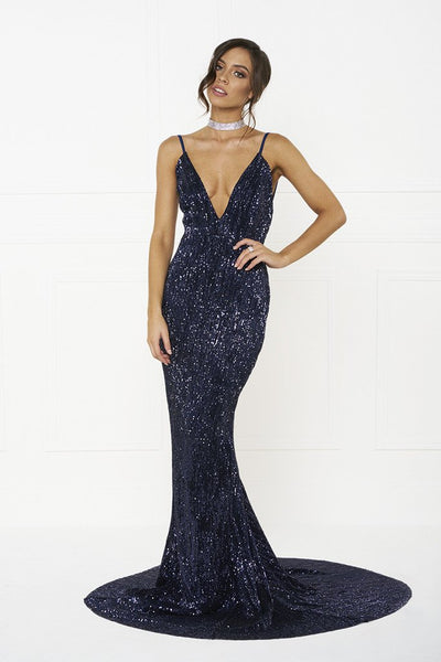 Honey Couture ROSALIE Blue Low Back Sequin Formal Gown Dress