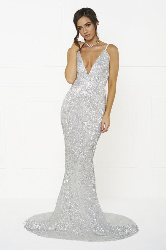 Honey Couture ROSALIE Silver Low Back Sequin Formal Gown Dress – One ...