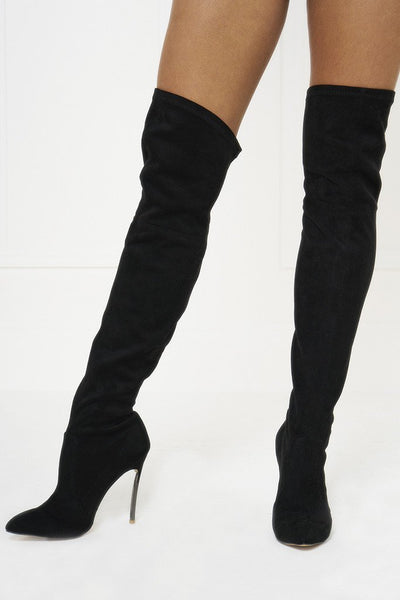 Honey Couture ELIZA Black Knee High Suede Look Blade Heel Boots
