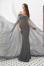 HADIYA Grey Crystal Beaded Gown w Cape Overlay Private Label$ AfterPay Humm ZipPay LayBuy Sezzle