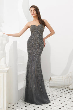 HADIYA Grey Crystal Beaded Gown w Cape Overlay