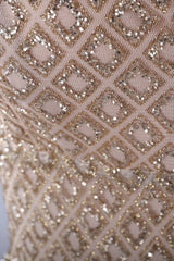Honey Couture TANYA Gold Glitter Split Front Formal Gown Dress