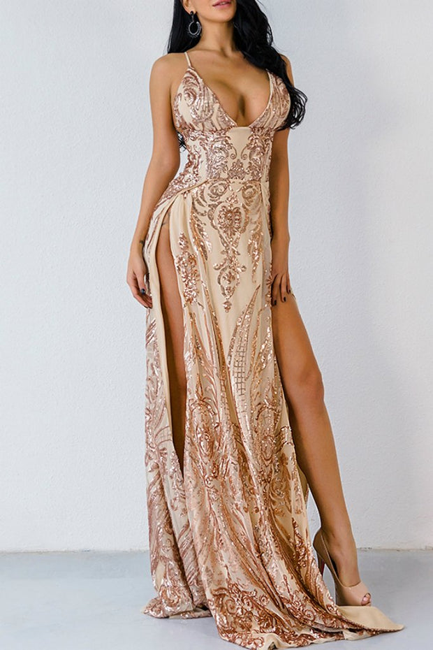 Honey Couture ABBY Gold Mermaid Sequin Formal Gown Dress Honey Couture$ AfterPay Humm ZipPay LayBuy Sezzle