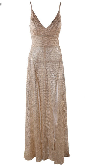 Honey Couture TANYA Gold Glitter Split Front Formal Gown DressHoney CoutureOne Honey Boutique AfterPay OxiPay ZipPay