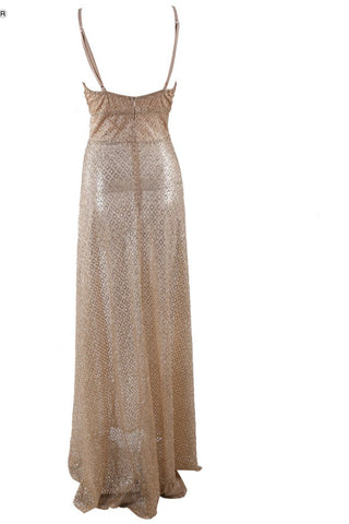 Honey Couture TANYA Gold Glitter Split Front Formal Gown Dress Honey Couture One Honey Boutique AfterPay ZipPay OxiPay Sezzle Free Shipping