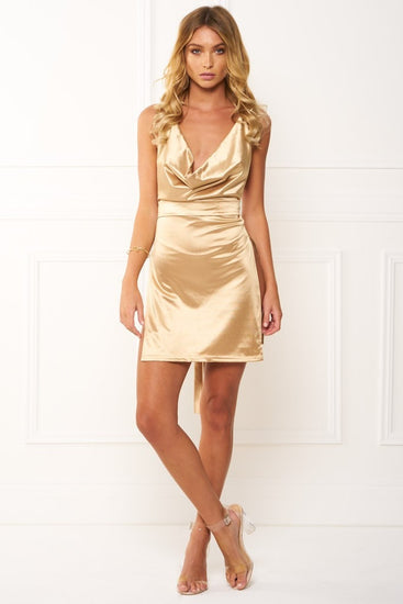 17906c62aab Honey Couture FELICIA Flash Gold Halter Mini DressHoney CoutureOne Honey  Boutique AfterPay OxiPay ZipPay ...