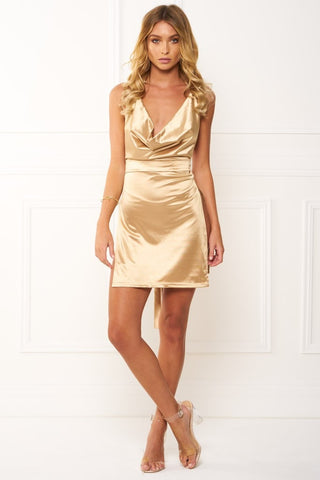 Honey Couture FELICIA Flash Gold Halter Mini Dress